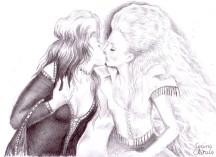 Lesbian kiss, pencil drawing