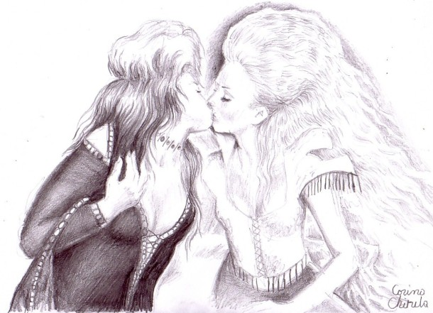 Lesbian kiss, pencil drawing