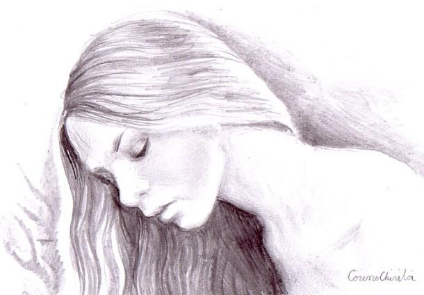 Portret de fata ganditoare desen in creion - Girl pwncil drawing