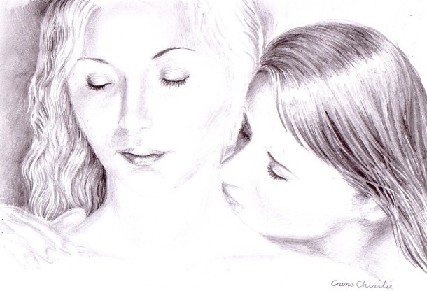 A kiss on her neck, pencil drawing