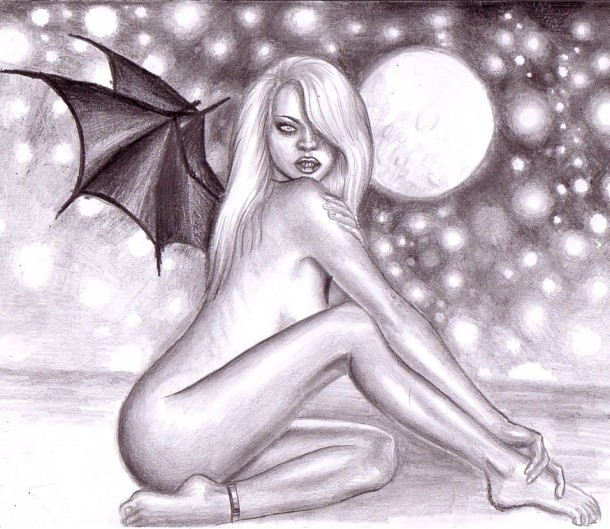 Night angel, pencil drawing