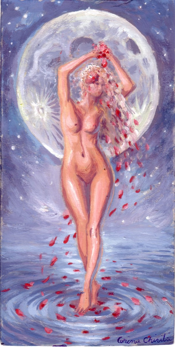 Selene or the goddess of the moon, tempera painting