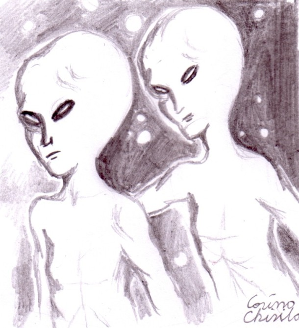 Alien lovers, pencil drawing