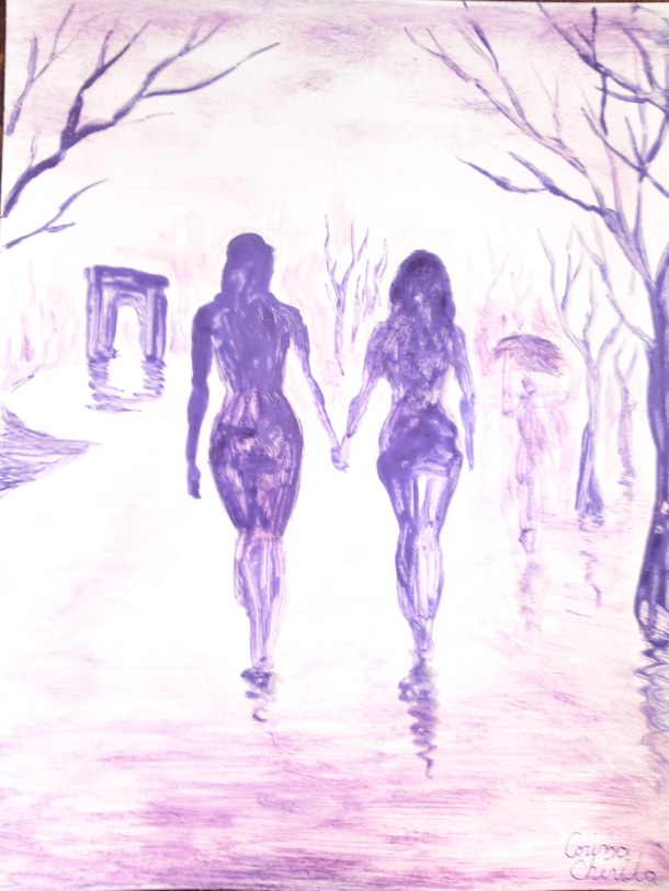 A walk in the rain, painting