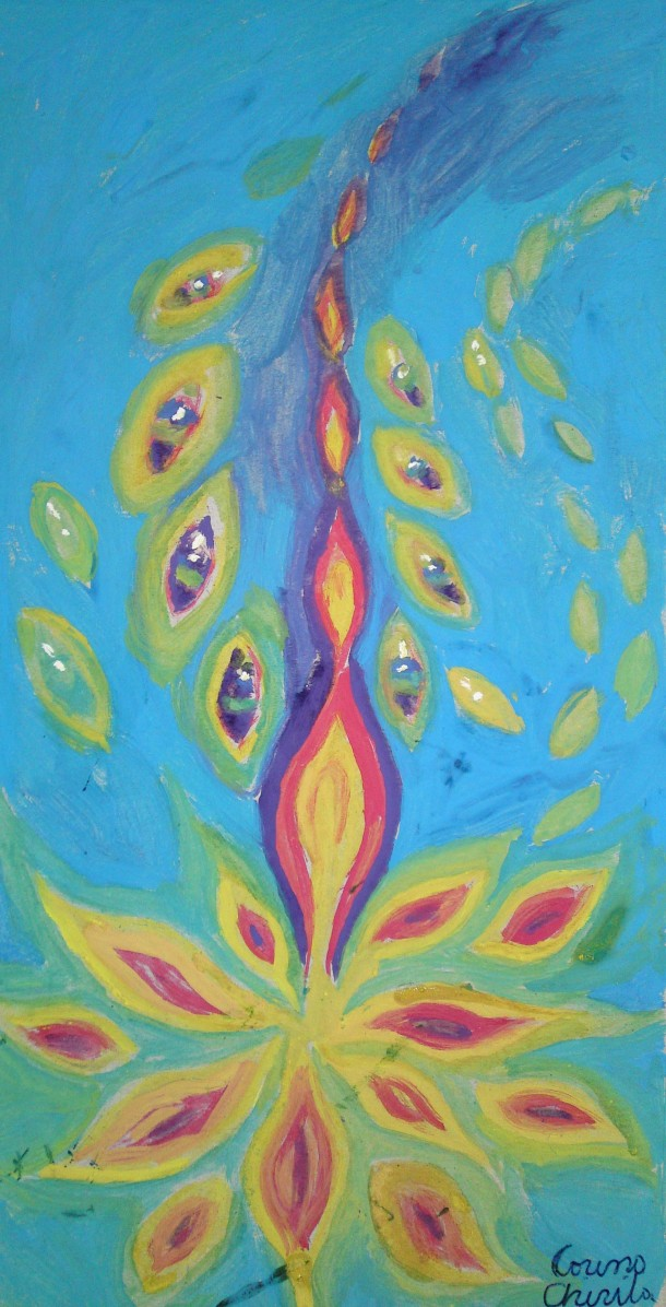 Flames of life, tempera painting