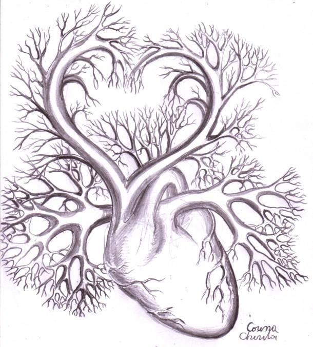 Inima desen in creion - Heart pencil drawing