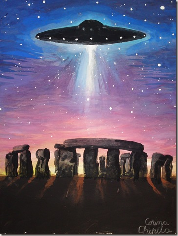 Stonehenge UFo painting