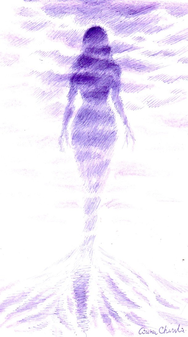 Fading silhouette, ball point pen drawing