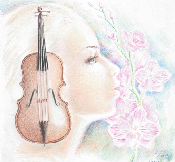 Muse of the music, color pencil drawing
