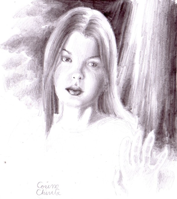 Young girl portrait pencil drawing