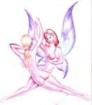 doua fete cu aripi de fluture schita pentru tabloul o fantezie