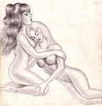 Lesbians old pencil drawing