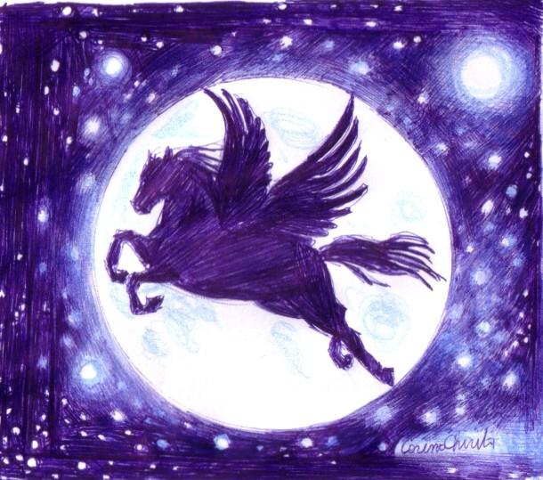 Pegasus, ball point pen drawing