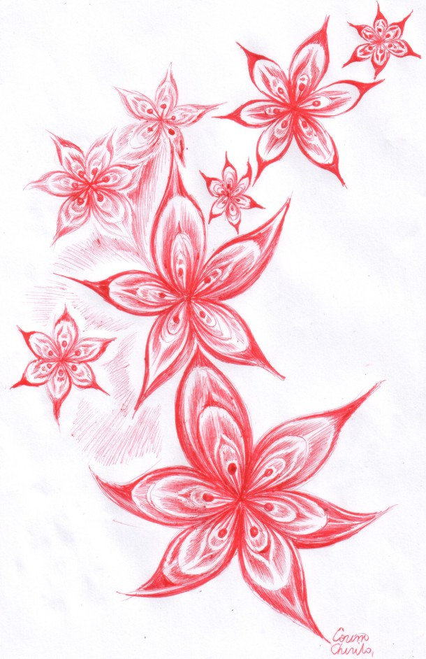 Flowers of feminity, ball point pen drawing