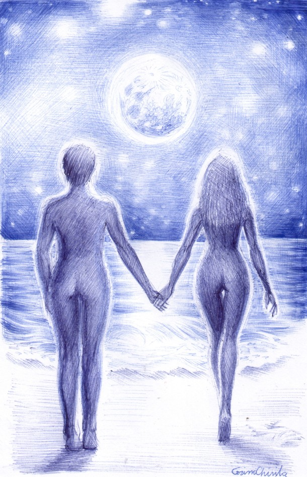 Lovers in the moonlight, ball point pen drawing