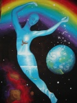 Omul cosmic Portret interior univers interior Pictura 2004 - Inner universe and rainbow painting