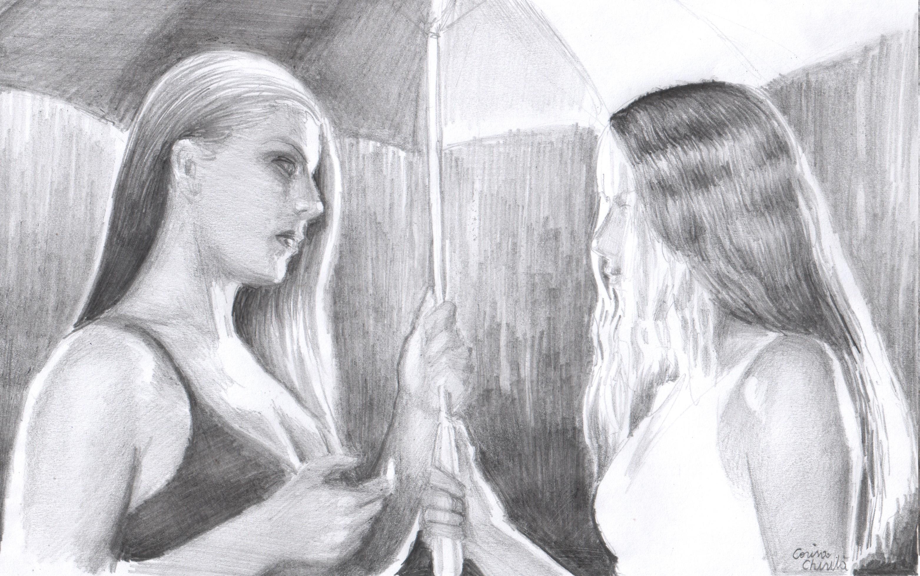 Lesbian pencil drawing