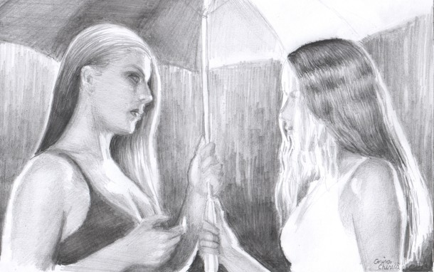 Two friends and their discussion in the rain,pencil drawing