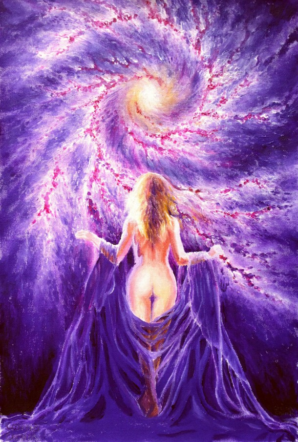 Woman in the universe, in front of the galaxy, in purple light, acrylics on canvas painting