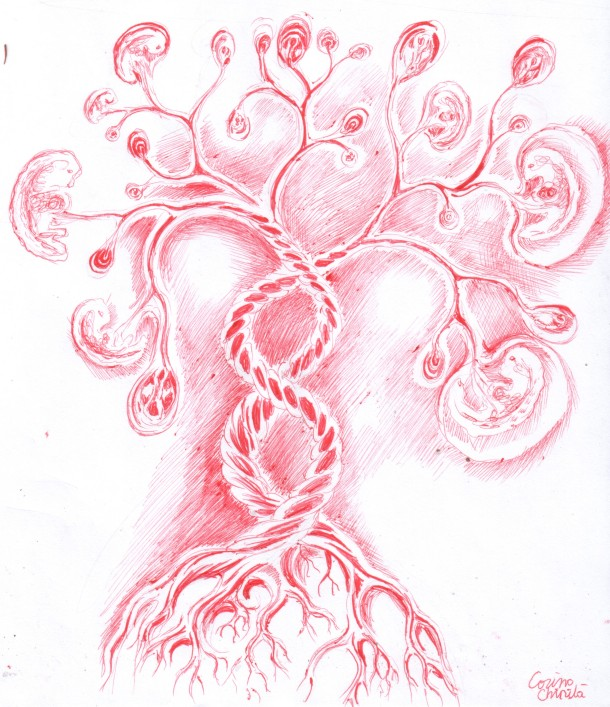 The tree of life, ball point pen drawing