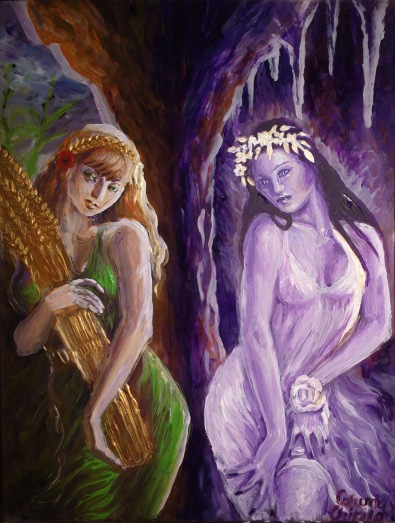 Demeter and Kore, the Demeters, mother and daughter, the goddesses of agriculture in the Greek mythology, painting