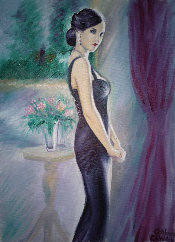 Eva Green as Vesper Lynd in the movie Casino Royale, oil on canvas painting
