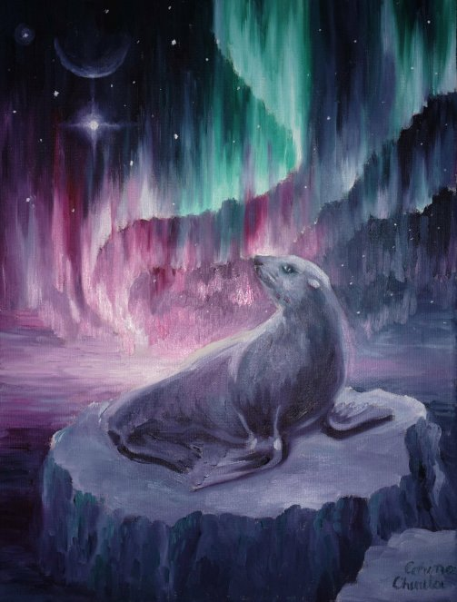 A sad lonely seal in the long cold polar night, watching the north star and the aurora borealis, oil on canvas painting