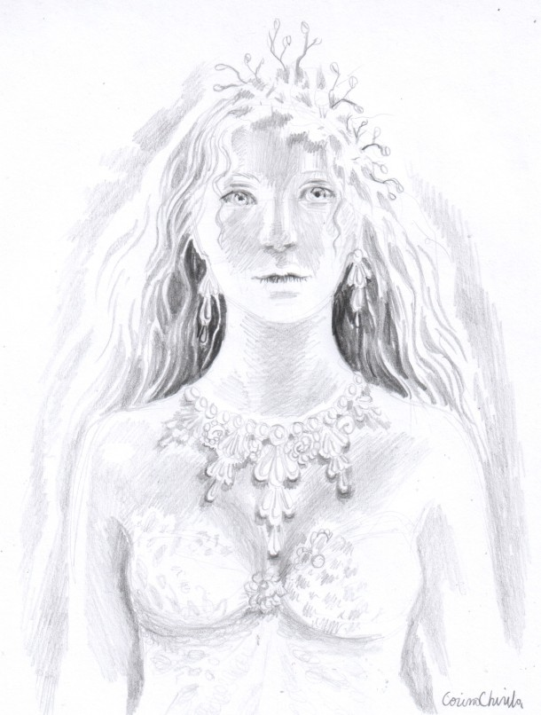 Portretul unei regine desen in creion - Portrait of a queen pencil drawing
