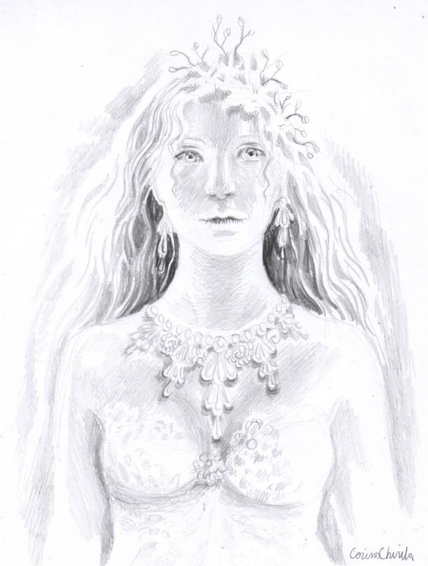 Portretul unei regine desen in creion - Portrait of a queen pencil drawing