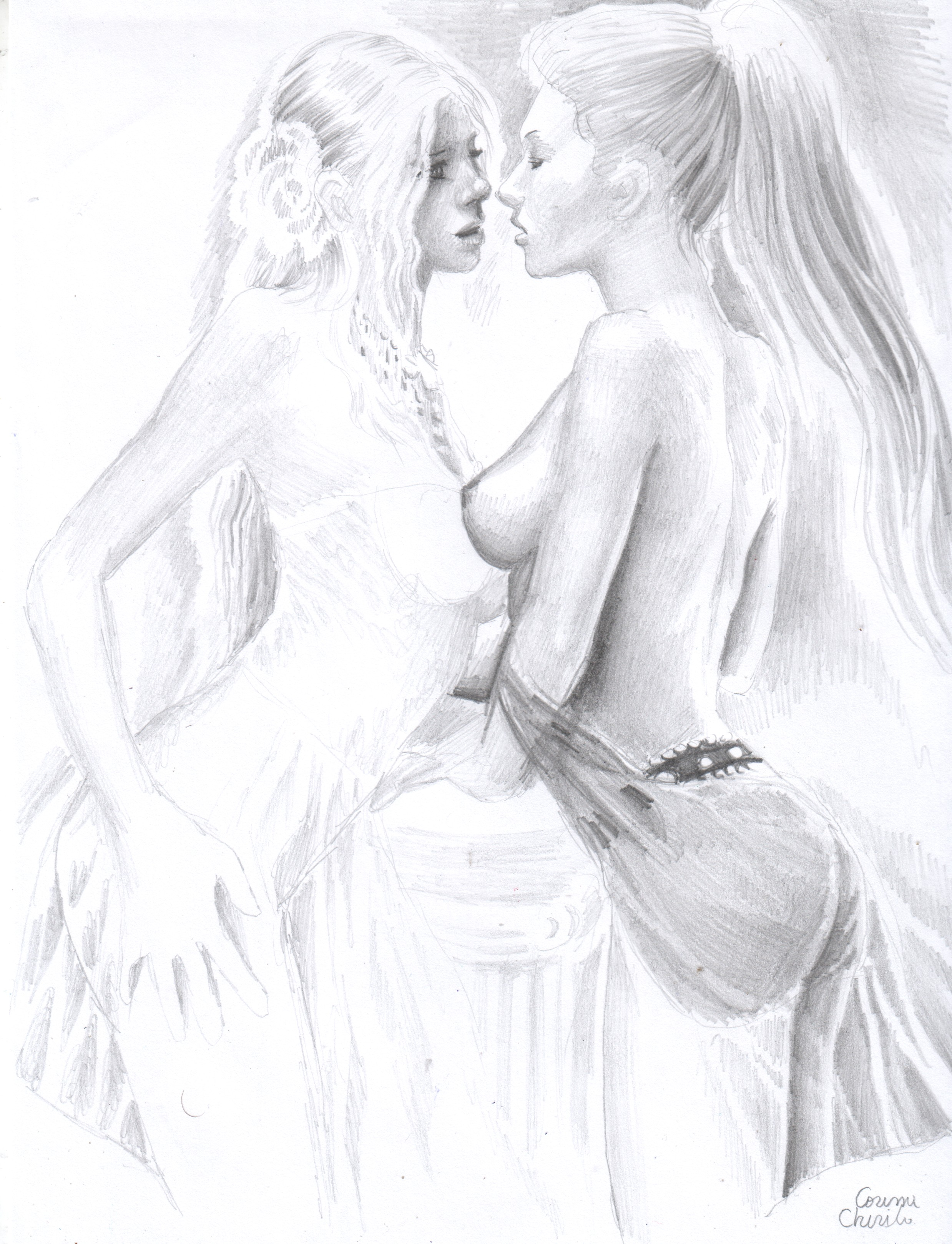 kiss-the-bride-with-pride-romantic-erotica-lesbian-art-pencil-drawing-about-love