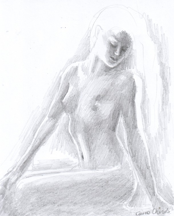 sexy naked girl pencil drawing - nud desen in creion