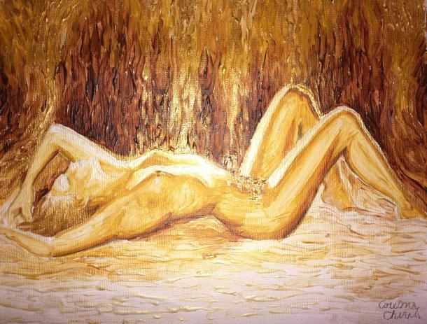 Danae pictura pe panza