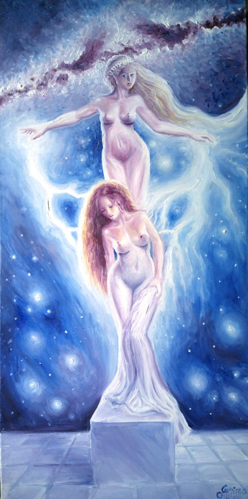 The legend of Pygmalion Aphrodite and Galatea greek mmythology oil on canvas painting - Agfrodita si Galateea din mitologia greaca pictura ulei pe panza
