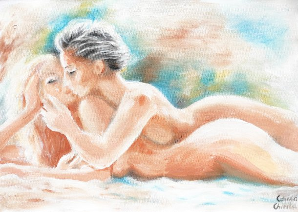 Making love to the woman in my dreams lesbian art painting